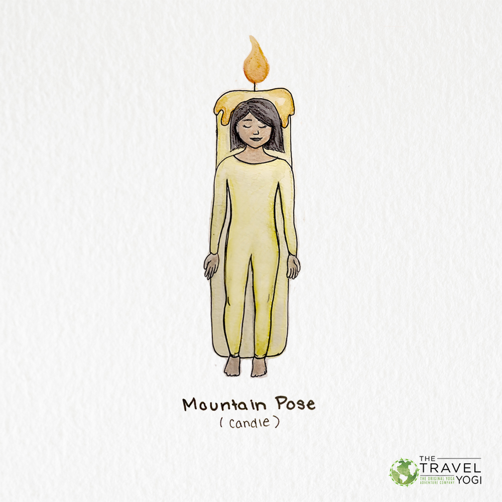 Holiday Yoga Poses: Mountain Pose (a woman stands straight with a candle behind her)