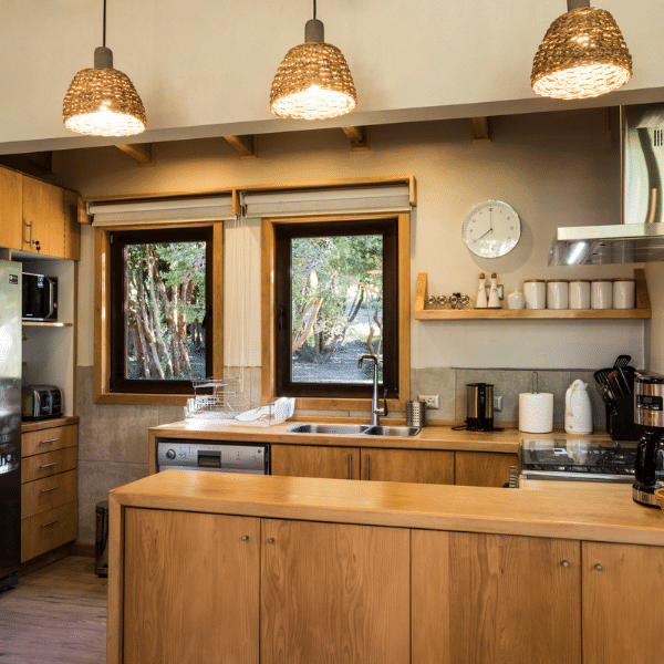 A kitchen at your accommodations on your Patagonia Yoga Retreat with The Travel Yogi.