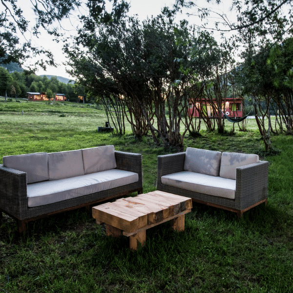 Outdoor seating area on your Patagonia Yoga Retreat with The Travel Yogi.