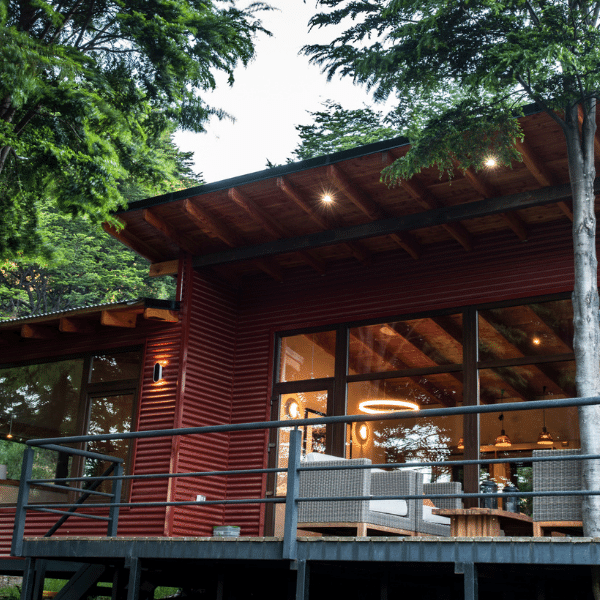 Patio with ambient light on your Patagonia Yoga Retreat with The Travel Yogi.