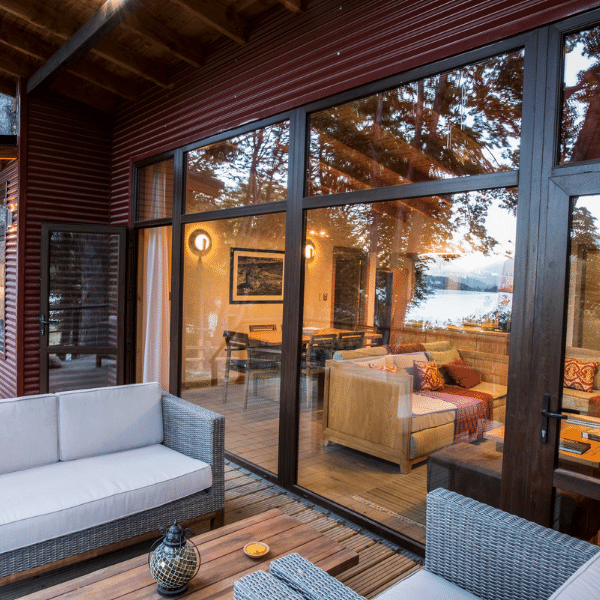 A living room at your accommodations on your Patagonia Yoga Retreat with The Travel Yogi.