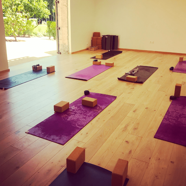Yoga mats and props are ready for you on this yoga retreat in France with The Travel Yogi.
