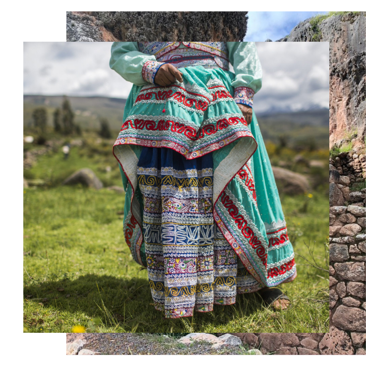 Woman wears an intricately embroidered skirt. Explore this Peru yoga retreat with The Travel Yogi