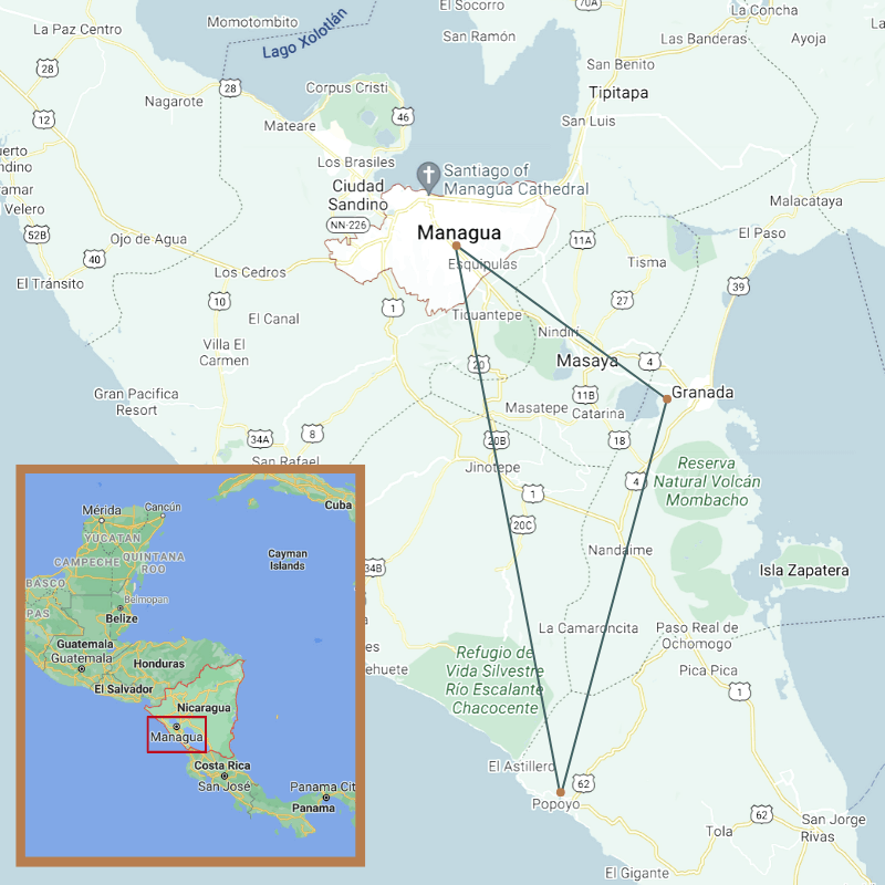 A map of your trip from Granada to the Pacific coast when traveling to Nicaragua with The Travel Yogi.